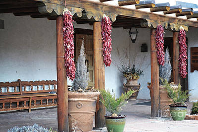 Art Print featuring the photograph Santa Fe Red Chili Ristra Porch by Andrea Hazel Ihlefeld