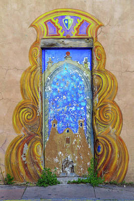 Photograph - Santa Fe Southwest Painted Door by Steven Bateson