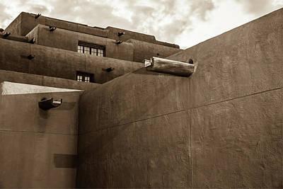 Photograph - Santa Fe Spanish Pueblo Style Architecture Cityscape - Sepia Edition by Gregory Ballos