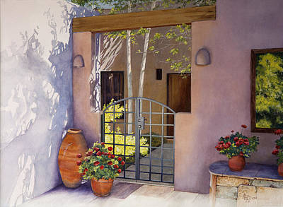 Painting - Santa Fe Sunlit Patio by Mary Dove