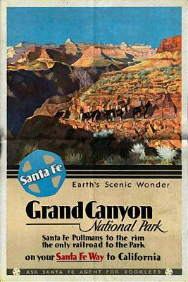 Grand Canyon Mixed Media - Santa Fe Train To Grand Canyon - Vintage Poster Folded by Vintage Advertising Posters