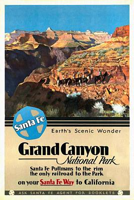 Santa Fe Train To Grand Canyon - Vintage Poster Restored Art Print