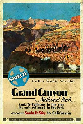 Grand Canyon Mixed Media - Santa Fe Train To Grand Canyon - Vintage Poster Vintagelized by Vintage Advertising Posters