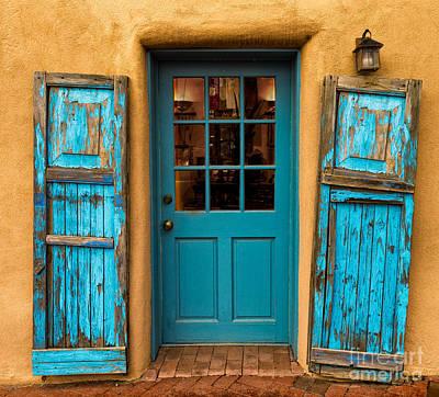 Ristra Digital Art - Santa Fe Turquois Door by Jerry Fornarotto