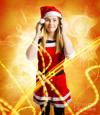 Photograph - Santa Girl Listening To Abstract Christmas Music by Jorgo Photography - Wall Art Gallery