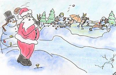 Drawing - Santa Golf by Vonda Lawson-Rosa