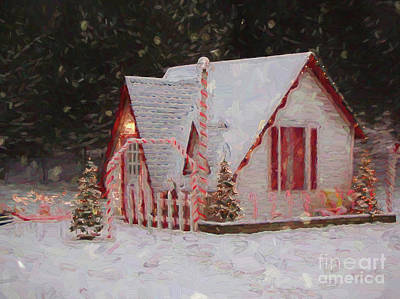 Digital Art - Santa House With Snow Winona Minnesota Digital Painting by Kari Yearous
