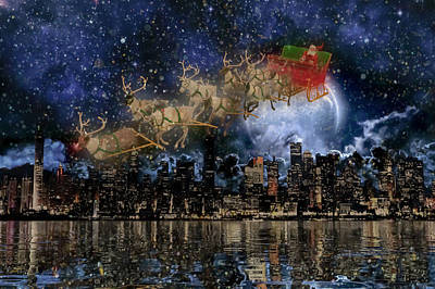 City Scenes Royalty-Free and Rights-Managed Images - Santa in the City by Betsy Knapp