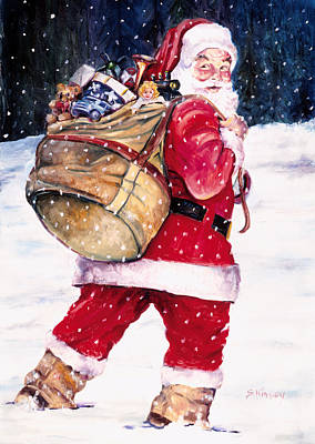 Claus Painting - Santa In The Snow by Sheila Kinsey