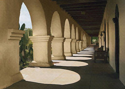 Digital Art - Santa Inez Arches by Sharon Foster
