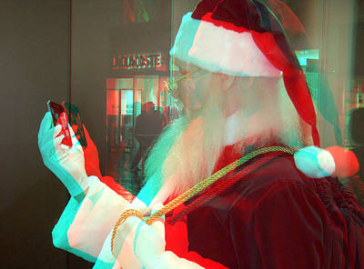 Photograph - Santa Iphone 3d by Joel Gilgoff