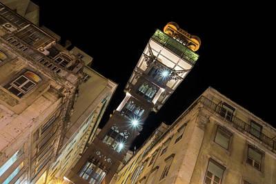 Photograph - Santa Justa Elevator - A Beautifully Decorated Architectural Marvel In Lisbon Portugal by Georgia Mizuleva