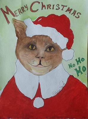 Painting - Santa Kitty by Patricia Voelz