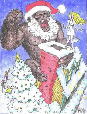 King Kong Drawing - Santa Kong by Joe May