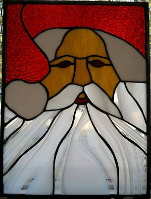 Glass Art - Santa by Liz Lowder