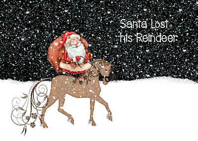 Digital Art - Santa Lost His Reindeer Card by Rosalie Scanlon