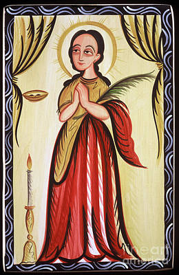 Painting - Santa Lucia - St. Lucy - Aoluc by Br Arturo Olivas OFS
