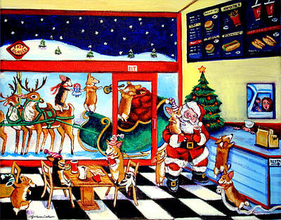 Reindeer Painting - Santa Makes A Pit Stop by Lyn Cook