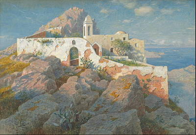 Small Lonely Painting - Santa Maria A Cetrella, Anacapri C.  by William Stanley Haseltine