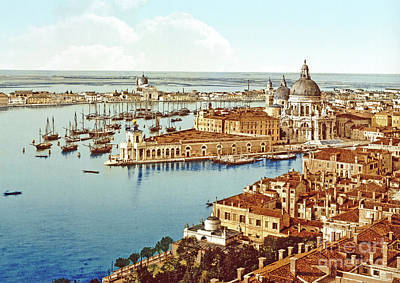 Rooftops Painting - Santa Maria Della Salute From The Campanile Tower by Italian School