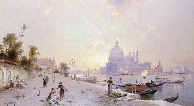 Pathway Painting - Santa Maria Della Salute Venice by Franz Richard Unterberger