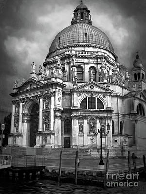 Photograph - Santa Maria Salute Black And White by Gregory Dyer