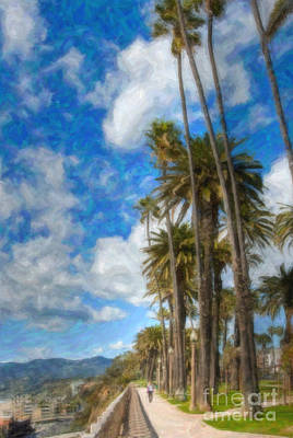 Photograph - Santa Monica Ca Palisades Park Bluffs Palm Trees by David Zanzinger