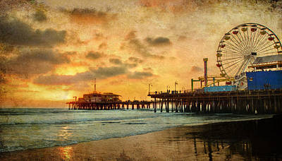 Mixed Media - Santa Monica California Pier At Sunset by Dan Haraga