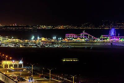 Photograph - Santa Monica Pier Light Show - Series 1 by Gene Parks