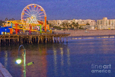 Photograph - Santa Monica Pacific Park Pier And Lowes Hotel by David Zanzinger