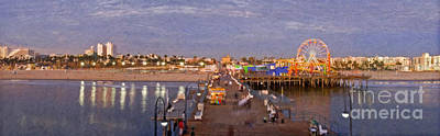 Photograph - Santa Monica Pacific Park Pier Skyline Panoramic by David Zanzinger