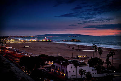 Photograph - Santa Monica Pier And Catalina Island by Gene Parks