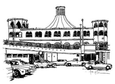 Santa Monica Drawing - Santa Monica Pier And Merry Go Round by Robert Birkenes