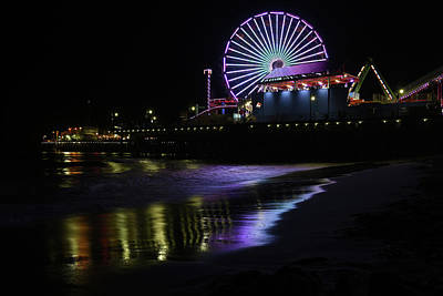 Photograph - Santa Monica Pier At Night 2 by Scott Cunningham