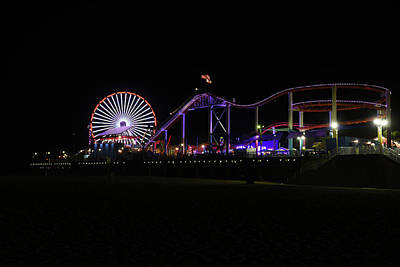 Photograph - Santa Monica Pier At Night by Scott Cunningham