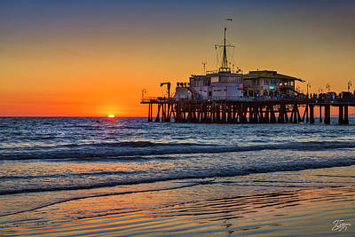 Photograph - Santa Monica Pier At Sunset by Endre Balogh