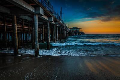 Santa Monica Pier At Sunset Art Print