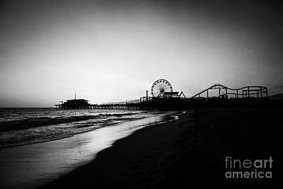 Santa Monica Pier Black And White Photography Art Print