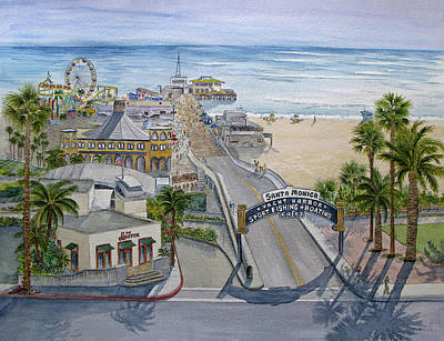 Santa Monica Painting - Santa Monica Pier by Bonnie Sue Schwartz