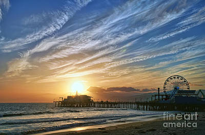 Santa Monica Pier Print by Eddie Yerkish