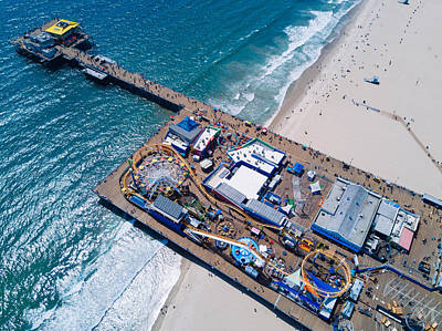 Roller Coaster Photograph - Santa Monica Pier From Above Side by Andrew Mason