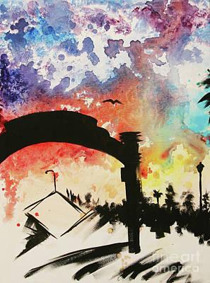Painting - Santa Monica Pier - Left Side Three Of Three by Ashlynn Apffel