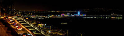 Photograph - Santa Monica Pier Light Show - Panorama by Gene Parks