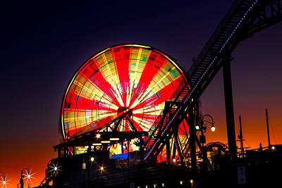 Photograph - Ferris Wheel At Santa Monica Pier  by Mark Andrew Thomas