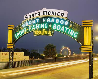Beachfront Photograph - Santa Monica Pier Sign Santa Monica Ca by Panoramic Images