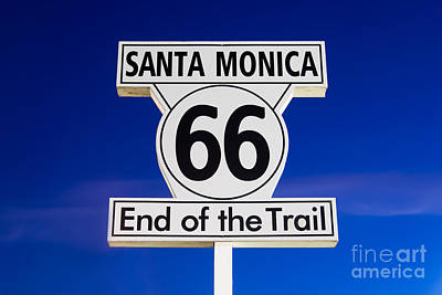Monica Photograph - Santa Monica Route 66 Sign by Paul Velgos