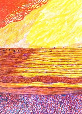 Santa Monica Drawing - Santa Monica Sailing  by Ishy Christine MudiArt Gallery