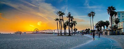 Panoramic Photograph - Santa Monica Sunset by Az Jackson