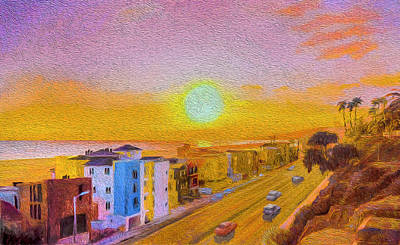 Digital Art - Santa Monica Sunset by Judith Barath