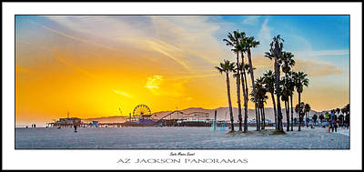 Amusement Park Photograph - Santa Monica Sunset Poster Print by Az Jackson
